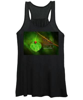 Ladybug On Leaf Thousand Miracles Quote Women's Tank Top