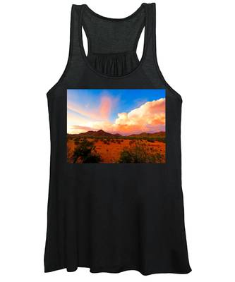 Women's Tank Top featuring the photograph Monsoon Storm Sunset by Judy Kennedy