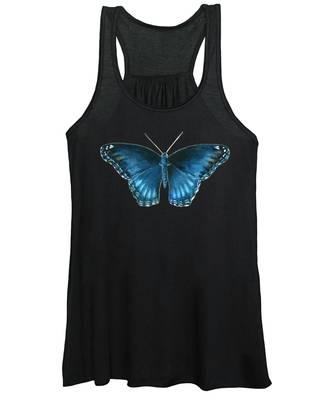 113 Brenton Blue Butterfly Women's Tank Top