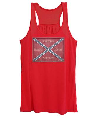 Confederate Flag On Wooden Door Women's Tank Top