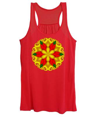 Elegant Christmas Poinsettia With Hearts  Women's Tank Top
