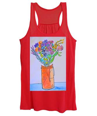 Flowers In An Orange Mason Jar Women's Tank Top