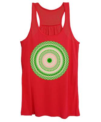 Pink And Green Mandala Fractal 002 Women's Tank Top