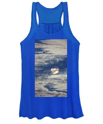 Women's Tank Top featuring the photograph Full Moon In Gemini With Clouds by Judy Kennedy