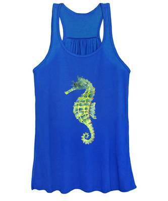Teal Green Seahorse - Square Women's Tank Top