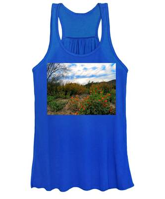 Women's Tank Top featuring the photograph Desert Wildflowers In The Valley by Judy Kennedy