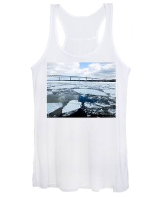 Rhinecliff Bridge Over The Icy Hudson River Women's Tank Top