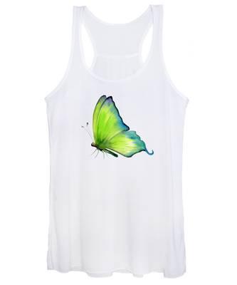 4 Skip Green Butterfly Women's Tank Top