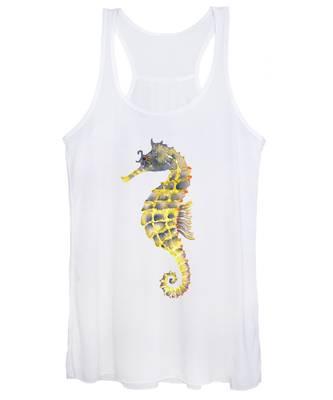 Blue Yellow Seahorse - Vertical Women's Tank Top