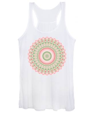 Pink And Green Mandala Fractal 004 Women's Tank Top