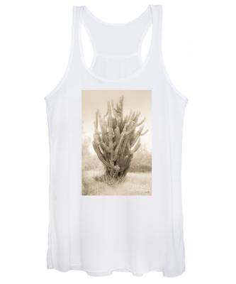 Tall Cactus In Sepia Women's Tank Top