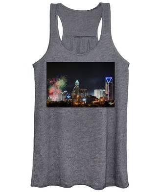 4th Of July Firework Over Charlotte Skyline Women's Tank Top