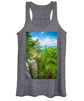 Beautiful Aerial Landscape Views From Crowders Mountain North Ca Women's Tank Top