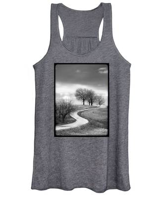 A Winding Country Road In Black And White Women's Tank Top