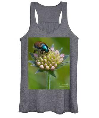 Beetle Sitting On Flower Women's Tank Top