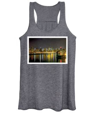 Nyc At Night Faux Oil Women's Tank Top