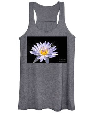 Summer Magic -- Dragonfly On Waterlily On Black Women's Tank Top