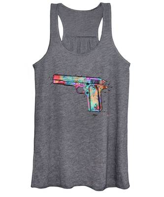 Colorful 1911 Colt 45 Browning Firearm Patent Minimal Women's Tank Top