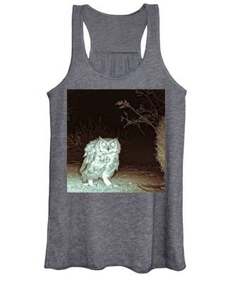 Great Horned Owl At Night In The Desert Women's Tank Top by Judy Kennedy