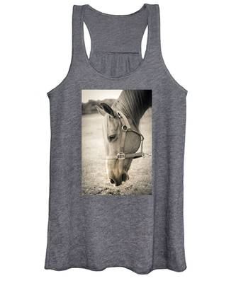 Horse Eating In A Pasture Women's Tank Top