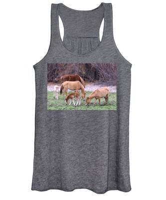 Women's Tank Top featuring the photograph Salt River Wild Horses In Winter by Judy Kennedy