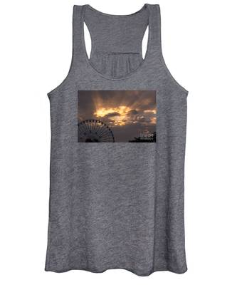 Texas Star Ferris Wheel And Sun Rays Women's Tank Top
