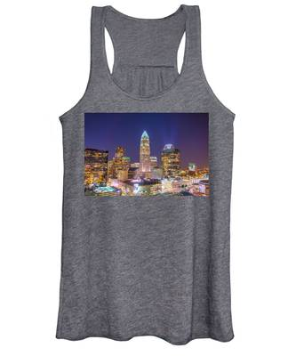 View Of Charlotte Skyline Aerial At Sunset Women's Tank Top