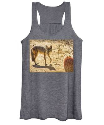 Women's Tank Top featuring the photograph Young Coyote And Cactus by Judy Kennedy