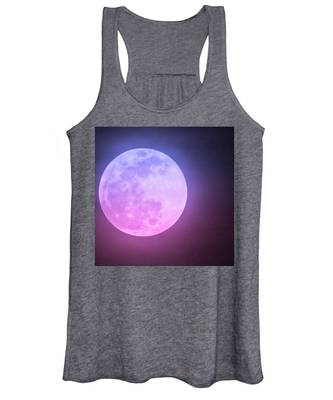 Women's Tank Top featuring the photograph Cancer Super Wolf Blood Moon Near Eclipse by Judy Kennedy