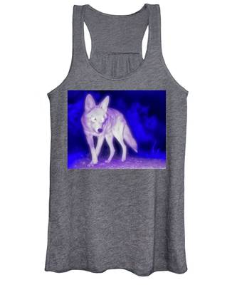 Coyote In The Garden Of The Ultraviolet Women's Tank Top by Judy Kennedy