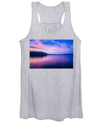 Sunset During Blue Hour At The Lake Women's Tank Top