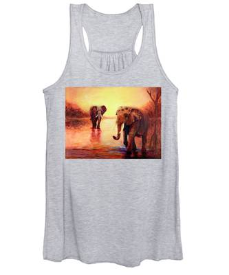 African Elephants At Sunset In The Serengeti Women's Tank Top