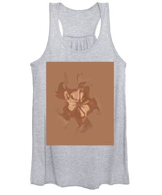 Beige Satin Morning Glory Women's Tank Top
