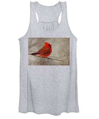 Cardinal In Snow Women's Tank Top
