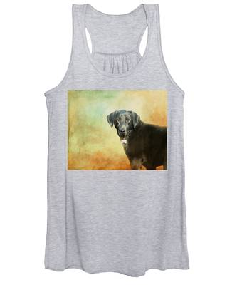 Portrait Of A Black Labrador Retriever Women's Tank Top