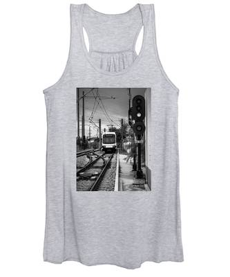 Electric Commuter Train In Bw Women's Tank Top