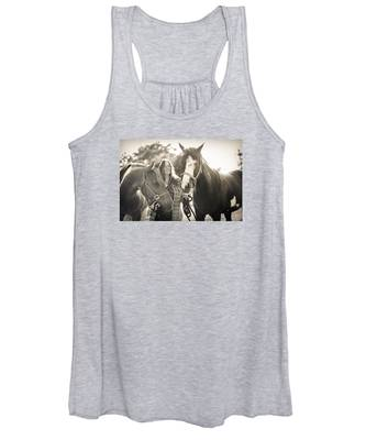 A Girl And Horses In The Sun Sepia Women's Tank Top