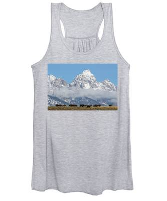 Bison In The Tetons Women's Tank Top