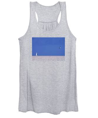 Black And White Sailboat And Seagull Women's Tank Top