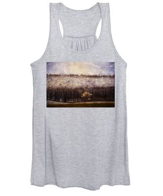 Gold Leafed Tree In Snow Women's Tank Top