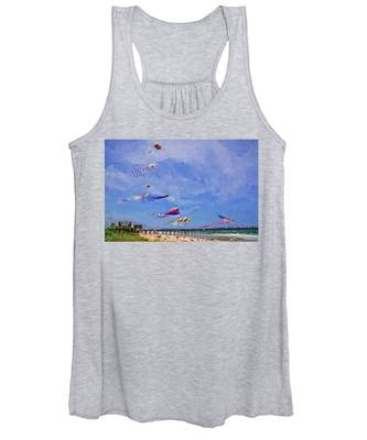 Women's Tank Top featuring the photograph Kites At The Flagler Beach Pier by Alice Gipson