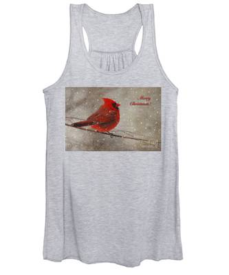 Red Bird In Snow Christmas Card Women's Tank Top