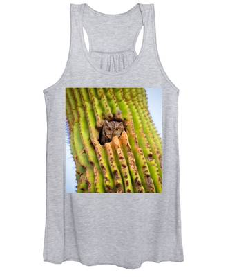 Women's Tank Top featuring the photograph Screech Owl In Saguaro by Judy Kennedy