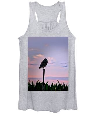 Women's Tank Top featuring the photograph Burrowing Owl On A Stick by Judy Kennedy