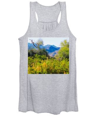 Women's Tank Top featuring the photograph Deep Desert Valley In A Sonoran Desert Spring by Judy Kennedy