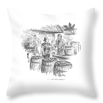 . . . And Don't Nibble! Throw Pillow by Alan Dunn