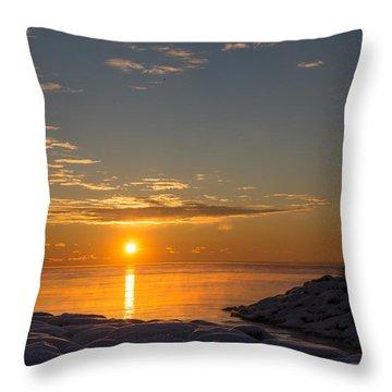 Throw Pillow featuring the photograph -15 Degrees Sunrise by Georgia Mizuleva