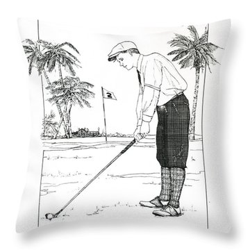 Throw Pillow featuring the drawing  1920's Vintage Golfer by Ira Shander