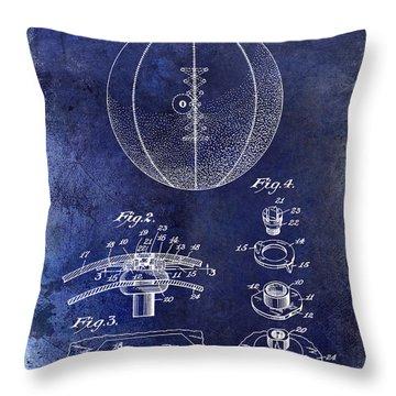 1927 Basketball Patent Drawing Blue Throw Pillow by Jon Neidert