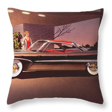 Classic Car Renderings Throw Pillows